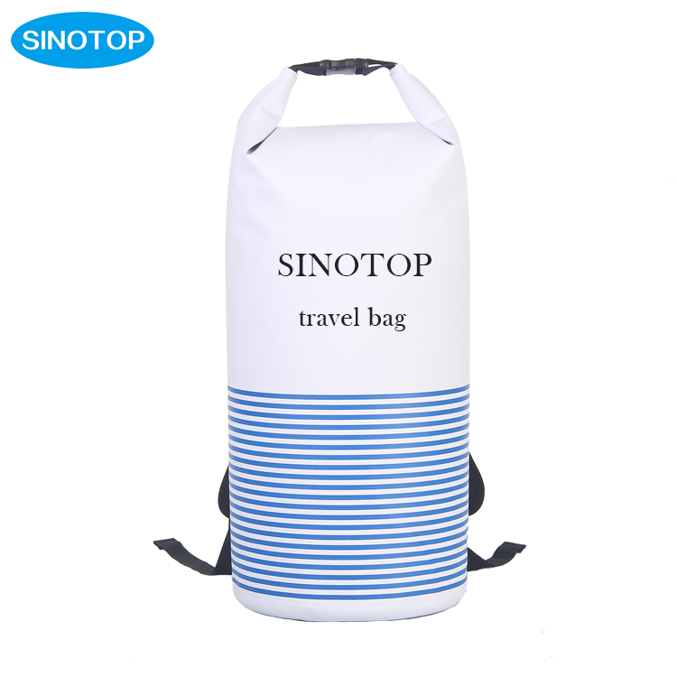 SINOTOP custom foldable 30L foldable pvc waterproof dry bag backpack for outdoor sports for drifting kayak