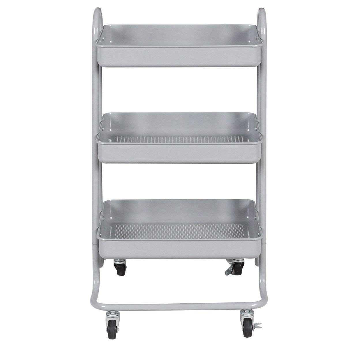 MyEasyShopping 3-Tier Steel Rolling Kitchen Trolley Cart Kitchen Trolley Rolling Island Wood Drawers Dining Rack Cabinet W Tier