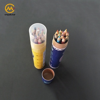 High quality factory wholesale custom glossy lamination paper pencil packaging tube box