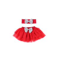 2018 New Fashion Summer Style Girl Wholesale Cheap Tutu Skirt With Bow Knot Headband