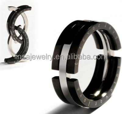 Black and Gold stainless steel wedding ring matching couples rings for engagement JDR137