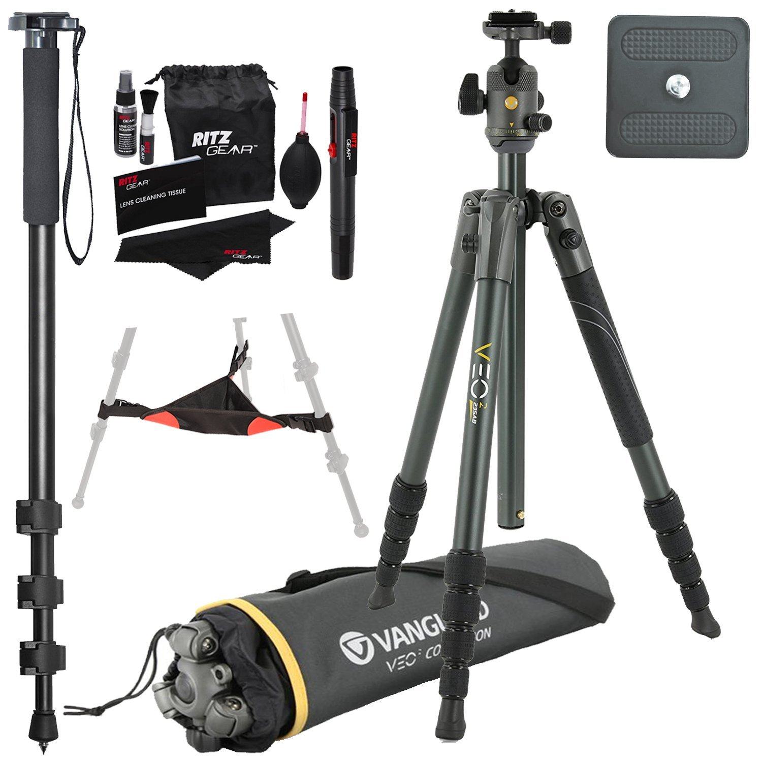 Vanguard VEO 2 235AB Black Aluminum Tripod with VEO 2 BH-50 Ball Head, Ritz Gear Tripod Stone Bag, 72-Inch Monopod with Quick Release and Ritz Gear Cleaning Kit
