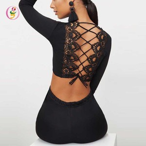 black long sleeve crop tops Bandage back women sexy blouses