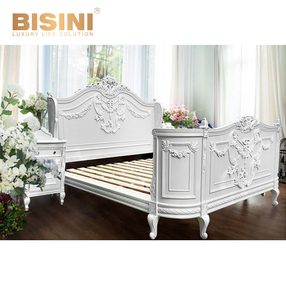 Gorgeous Vivid Carving Solid Wood Princess Bed/ French Provincial Vintage  White Painted King Size Wedding Bed/ Queen\'s Bedroom, View Solid Wood Bed,  ...