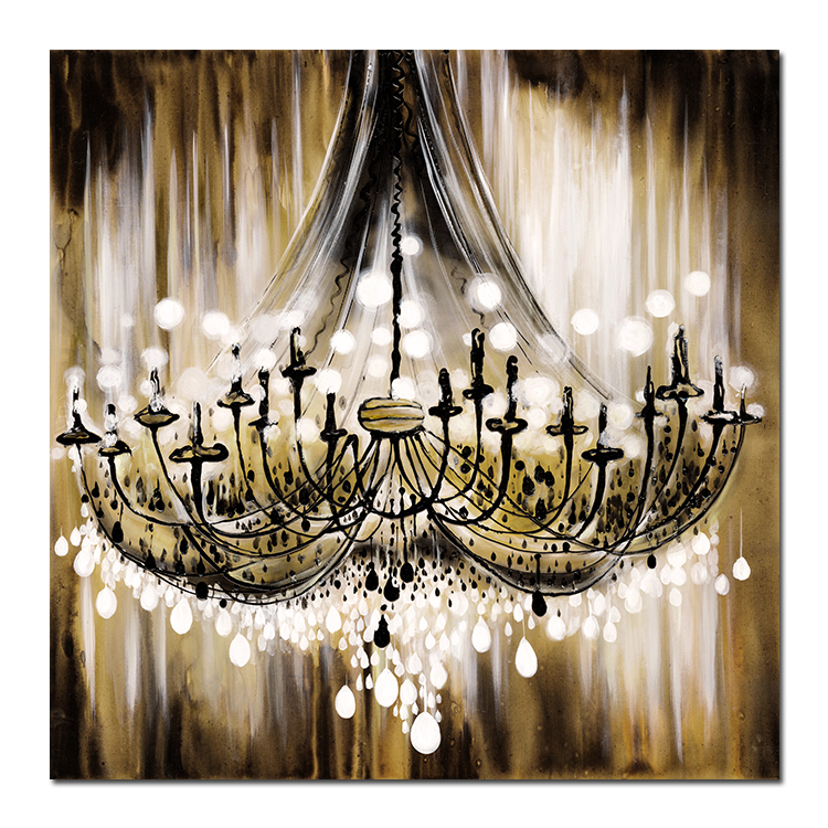 High-quality environmental protection canvas print chandelier micro-spraying process Black  Fine canvas painting wall art