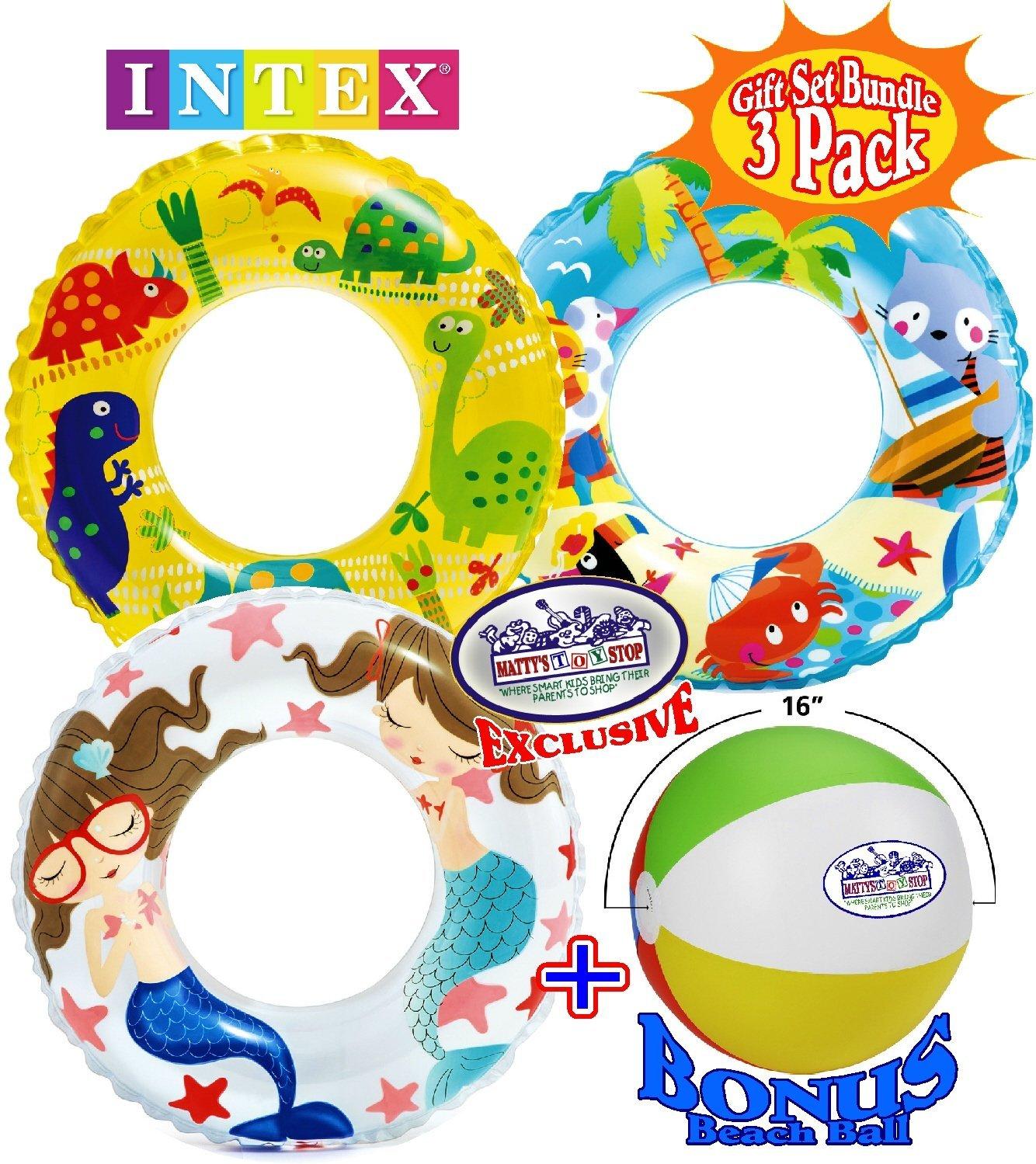 "Ocean Reef Transparent Swim Rings (24"") ""Dinosaurs"", ""Mermaid"" & ""Tropical Beach"" Gift Set Bundle with Bonus ""Matty's Toy Stop"" 16"" Beach Ball - 3 Pack"