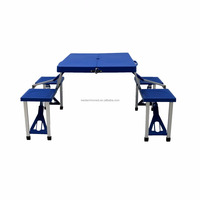 Portable Folding Picnic Table and Bench Aluminum folding camping table with 4 seats foldable outdoor BBQ table For Amazon EBAY