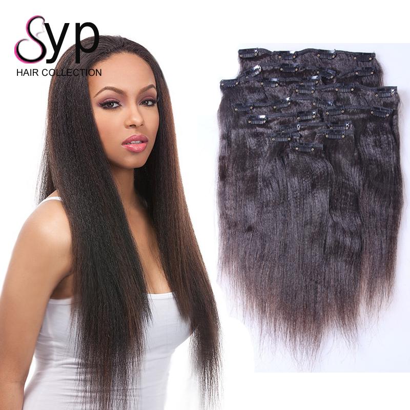 Clip In Yaki Human Hair Extensions Clip In Yaki Human Hair