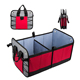 Collapsible and Packable Car Trunk Organizer Storage Container with 3 Compartments Side Pockets