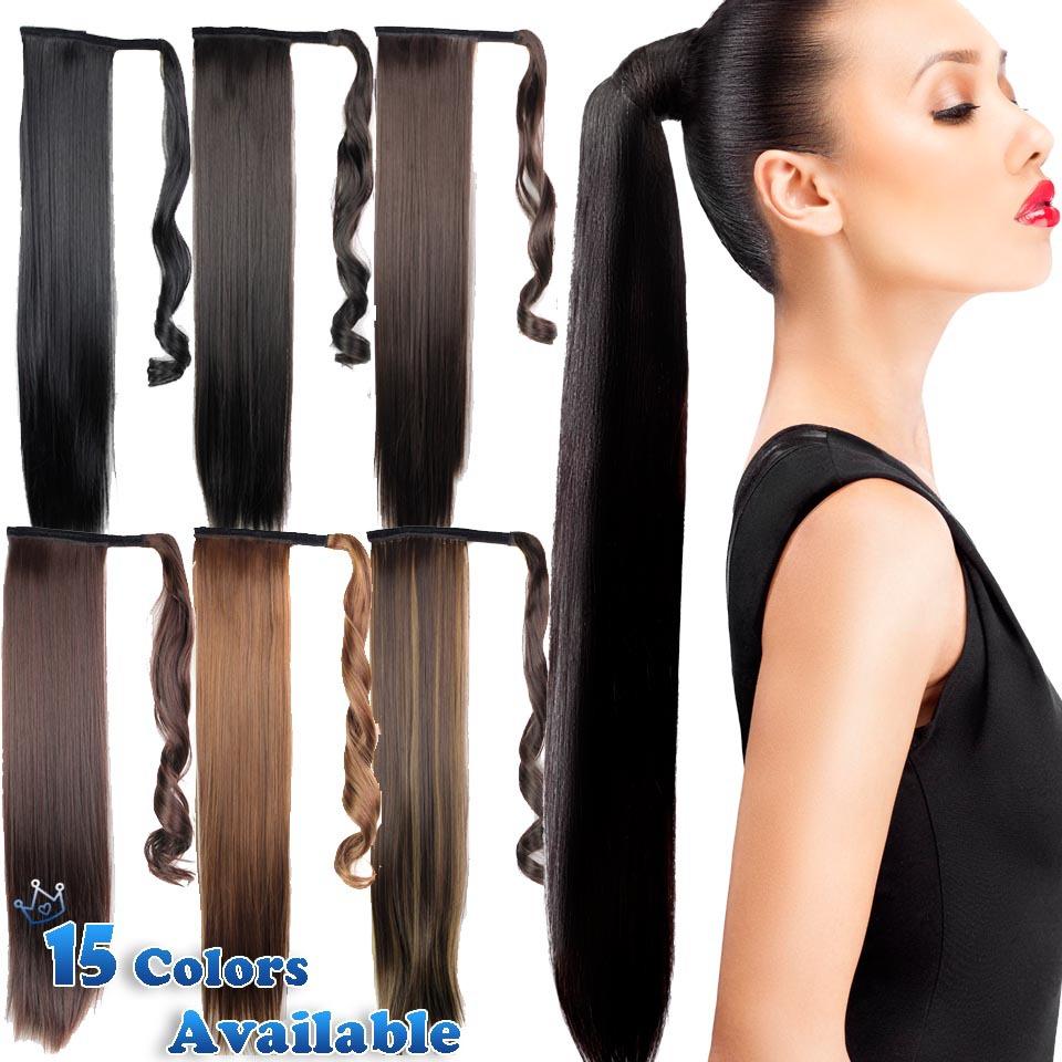 24 дюймов черный синтетический длинные прямые клип в ленты хвост выдвижения волос парики мой маленький пони хвост волосы частей 15 цветов