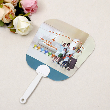 High quality custom printed cheap plastic hand fan with white handle