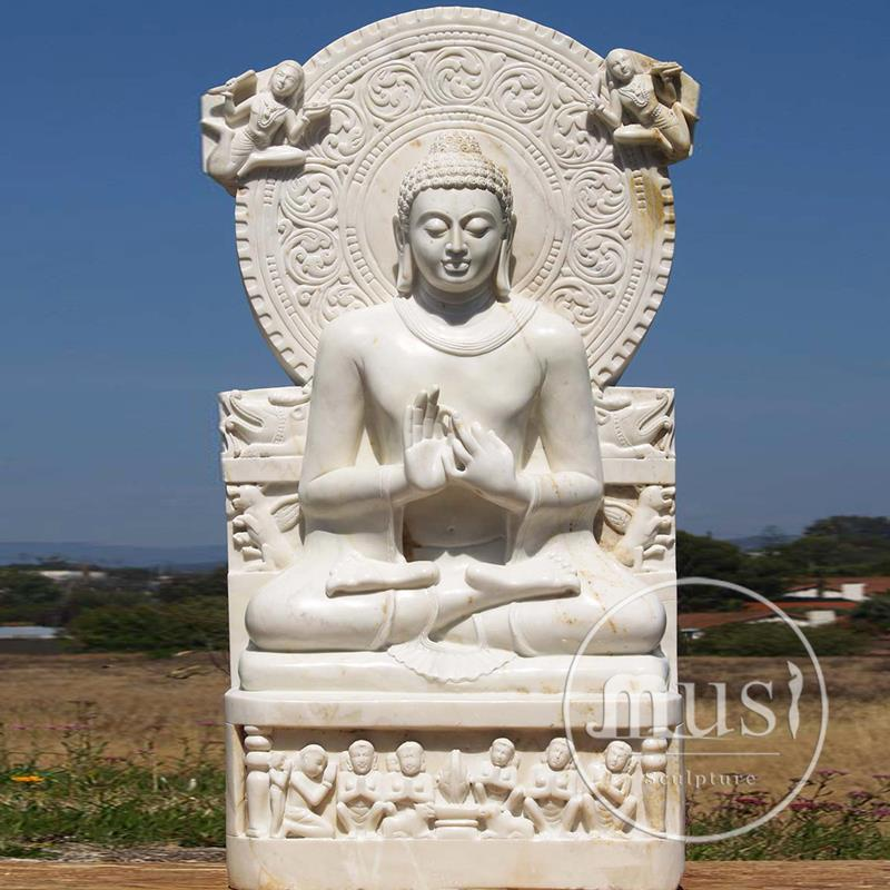 white natrual stone hand carved buddha wall sculpture