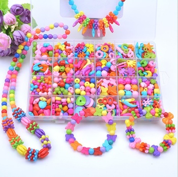 Yiwu Factory wholesale Diy craft children's bead fun toys bead box loose jewelry plastic beads for children