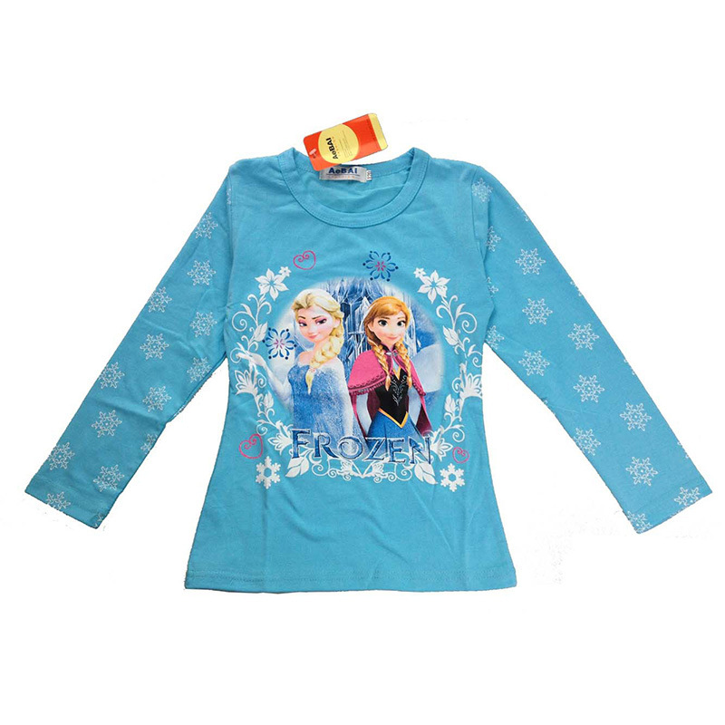c039 2017 OEM Printed Long Sleeve Cotton cartoon characters Kids T Shirt For kids