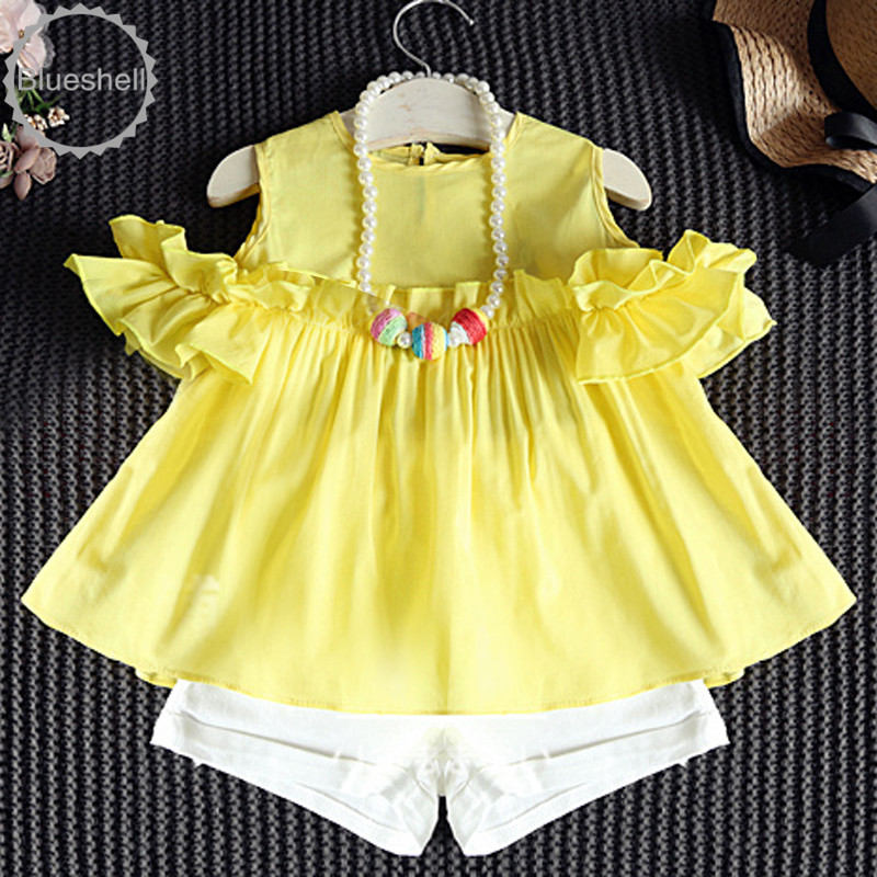 Fashion summer girls sets baby off shoulder ruffle blouse + shorts suits 2pcs kids clothes children girls clothing sets