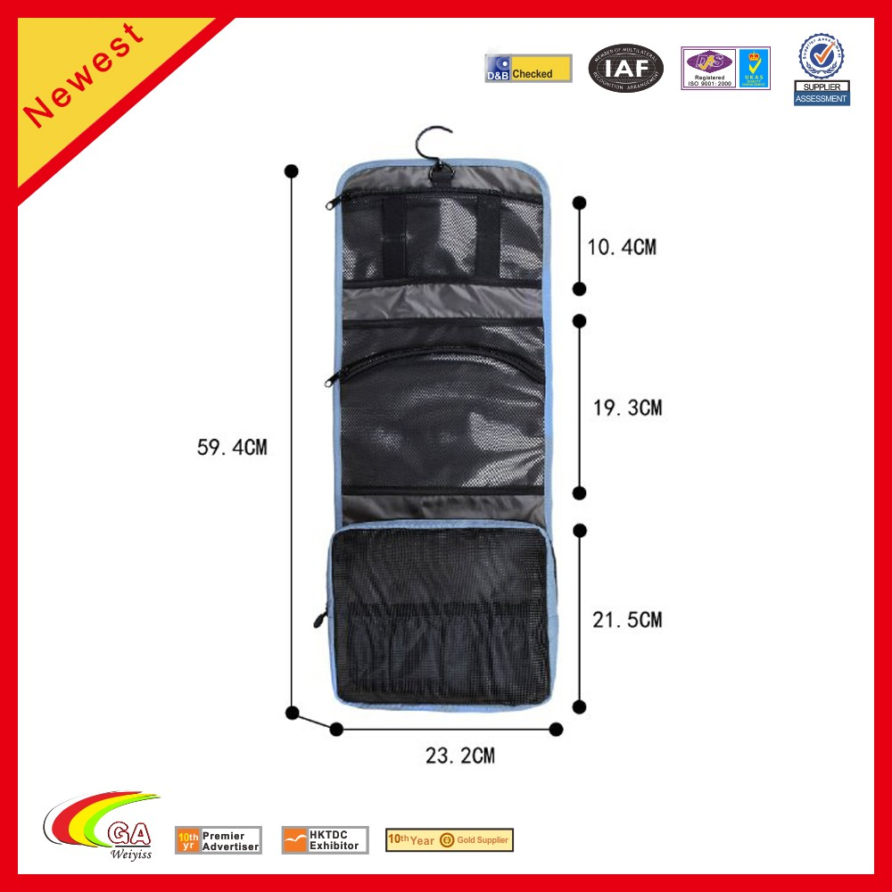 custom logo Hanging make up travel bag Cosmetic Carry Case with Breathable Mesh Pockets