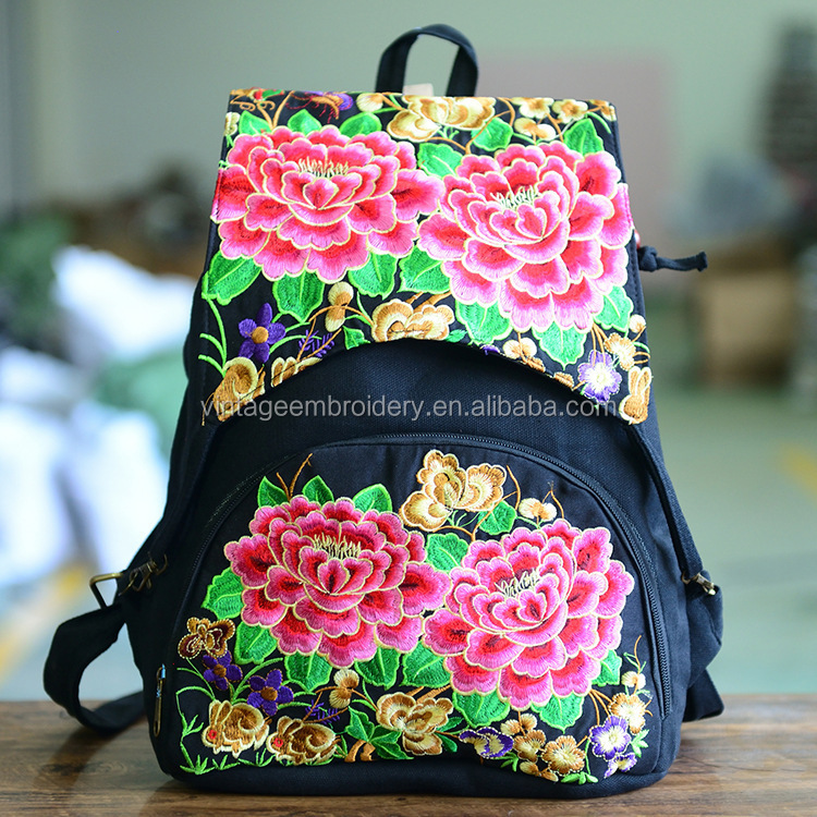 Wholesales Newest Embroidery Canvas Shoulder backpack Women Ethnic Travel Backpack