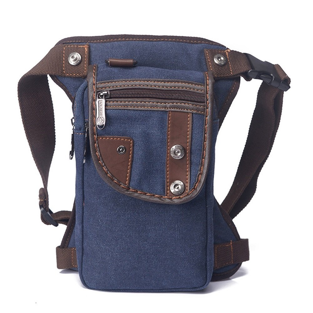 Men Fanny Pack* Motorcycle Rider Tactical Military Belt Waist Canvas Hip Leg Bag