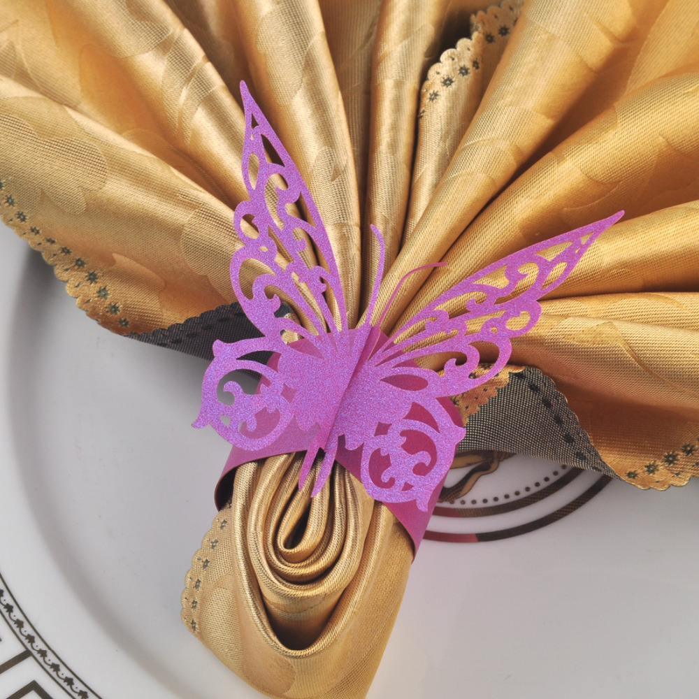 2015 New Chic 60pcs Purple Paper Butterfly Napkin Rings