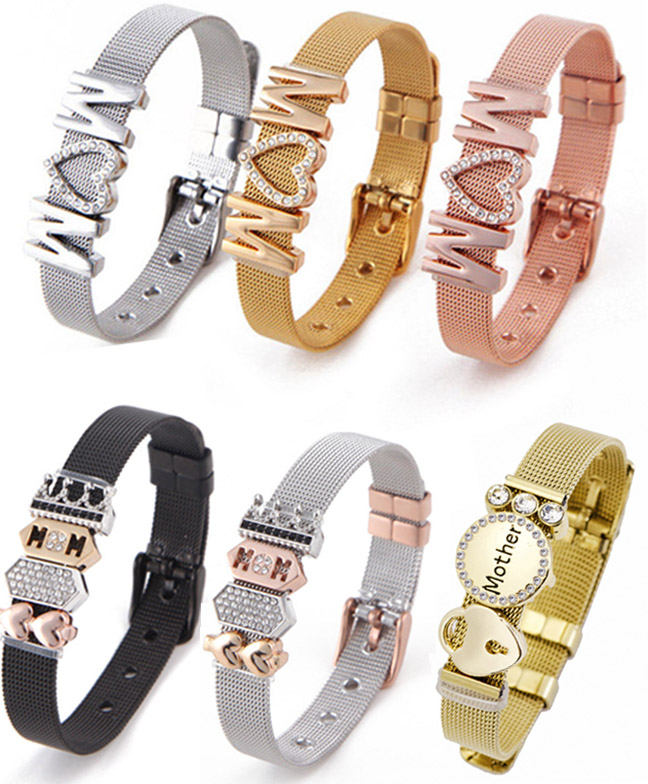 Wholesale Women Jewelry Diy Mom Lucky Charm Keeper Ajustable Custom Stainless Steel Reflexions Mesh Bangle Bracelet