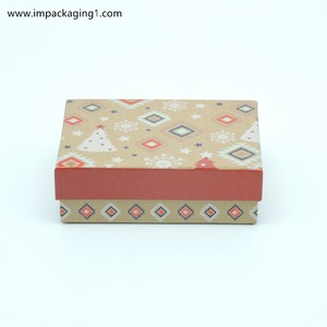 Rectangular hot stamping foil natural kraft paper gift box with lids gift box packaging