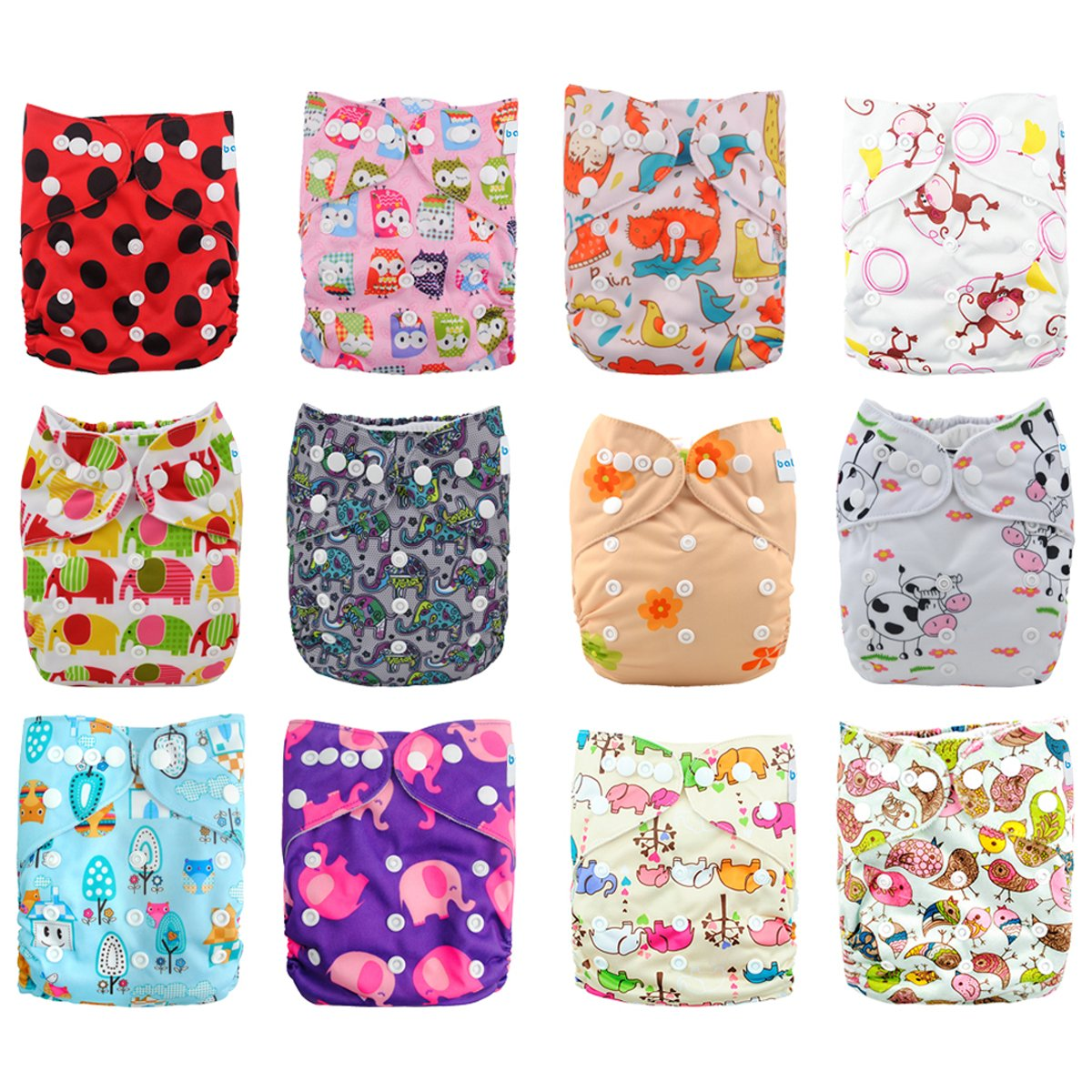 Babygoal Baby Cloth Diapers,One Size Adjustable Reusable Pocket Cloth Diaper 12pcs Diapers+12pcs Charcoal Bamboo Inserts+One Wet Bag+4pcs Baby Wipes 12fg42-3