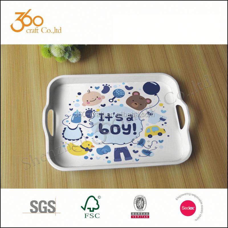 Melamine plates for restaurant small serving tray with handles