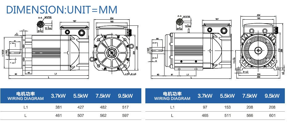 MIGE 9.5kw ac cnc spindle motor