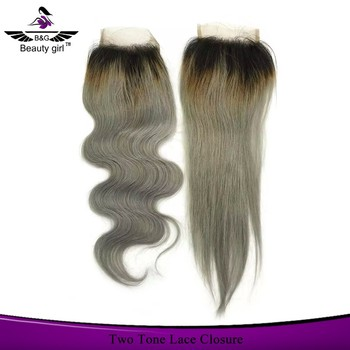 Wholesale brazilian virgin hair bundles with lace closure ,two tone human hair weave