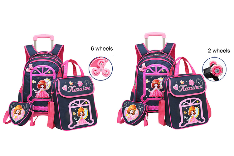 3PCS children school bag set fashion kids primary school wheeled bag