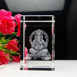 INDIA Souvenir laser crystal natraj Ganesha crystal, India god of wealth