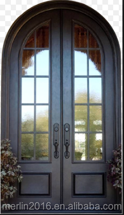 arch top double wrought iron door
