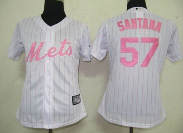 Women Jerseys New York Mets #57 Santan White (Pink strip) Baseball Softball
