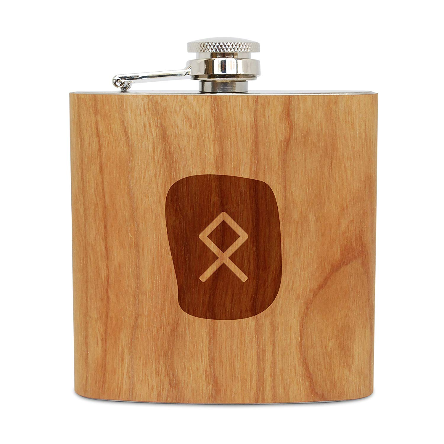 WOODEN ACCESSORIES COMPANY Cherry Wood Flask With Stainless Steel Body - Laser Engraved Flask With Rune Othila Design - 6 Oz Wood Hip Flask Handmade In USA