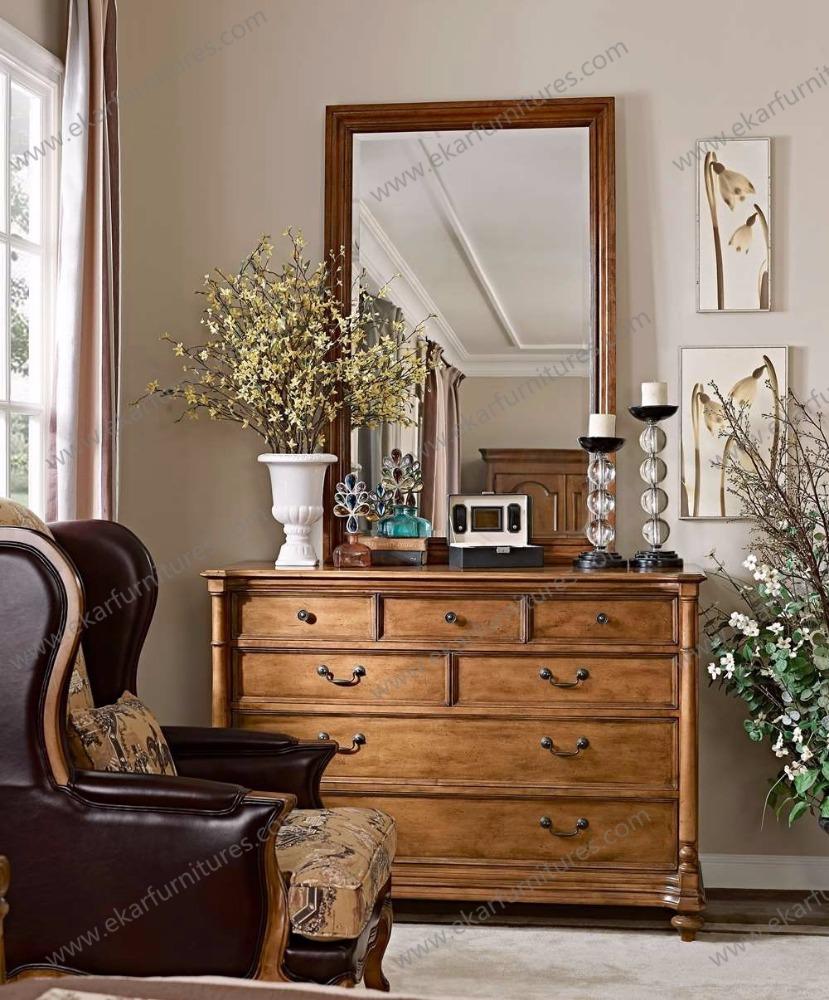 Muebles de dormitorio cama de madera con tocador de lujo victoriano antiguos muebles de madera Muebles de dormitorio antiguos