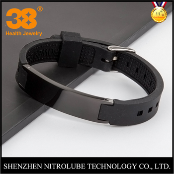 Por Style Mens Fitness Sports Silicone Bracelet With Negative Ion