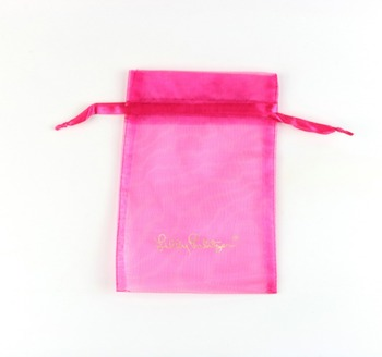 Lanxi Red organza bag with flower for wedding