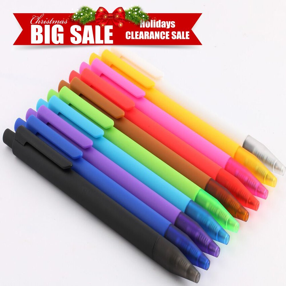 CLEARANCE SALE ! ! !ONLY 10 ! ! ! Gel Ink Roller Ball Pens - Clicker Retractable Premium Gel Ink Pens, Extra Fine Point, Assorted Color Inks - 10 Pack