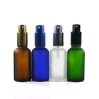 Cosmetic 30ml clear cobalt blue green amber frosted glass perfume bottle with gold silver black aluminum spray fine mist cap