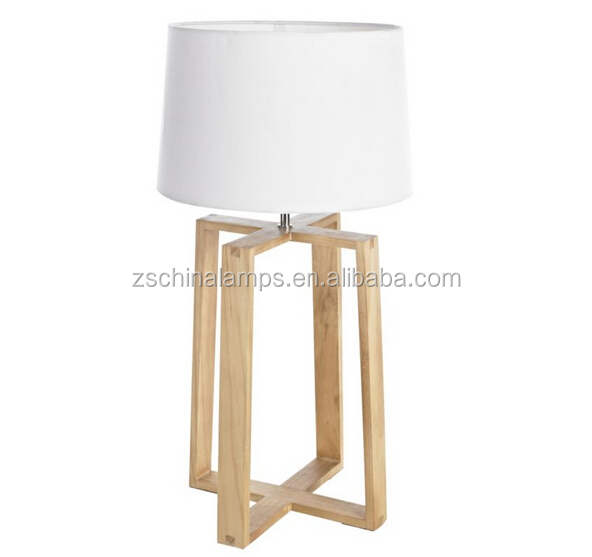 Ce Saa Designer Table Lamp With Wood Carving Lamp Stand With Linen ...