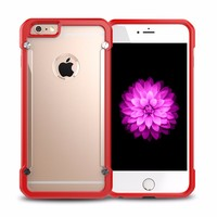 For Apple iPhone 6 Case Protective Transparent Slim Case TPU Bumper + Acrylic PC Anti-Scratch Phone Back Cover Case