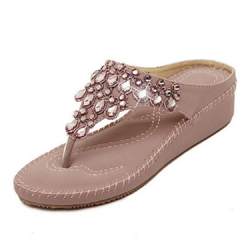 2a117051dde2b Get Quotations · NeeKer Shoes Summer Women Sandals High Heels Flip Flops  Beach Wedge Sandals Rhinestones Platform Wedge Flip