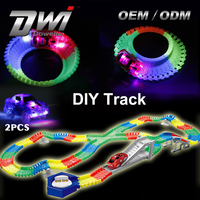 Hot Sale DWI Night Light DIY Track Racing Electric Magic Car Toy Car Track for Kids