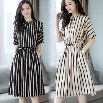 Fashion Design Ladies Clothing Korean Short Sleeve Stripe Dresses Chiffon Girl Summer Dress Buy Girl Summer Dress Fashion Dresses New Fashion Dresses Product On Alibaba Com