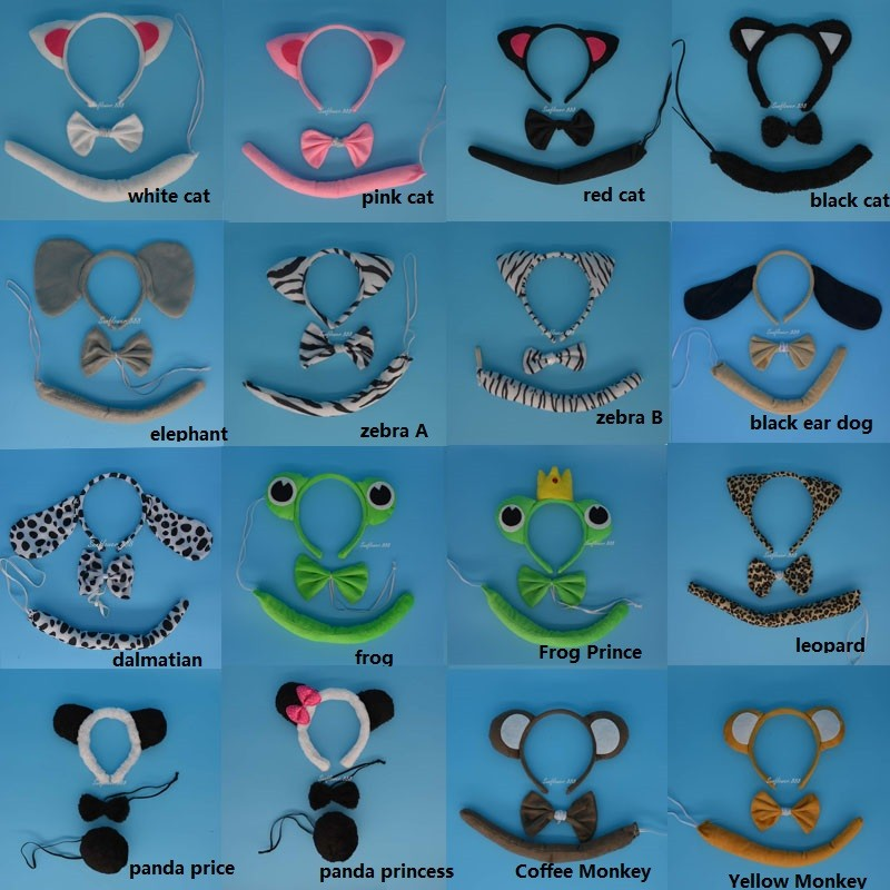 Apparel Accessories Cheap Price Frog Headband Birthday Party Favors Supplies Animal Hair Band Tiger Monkey Dog Cat Giraffe Tie Tail Halloween Cosplay