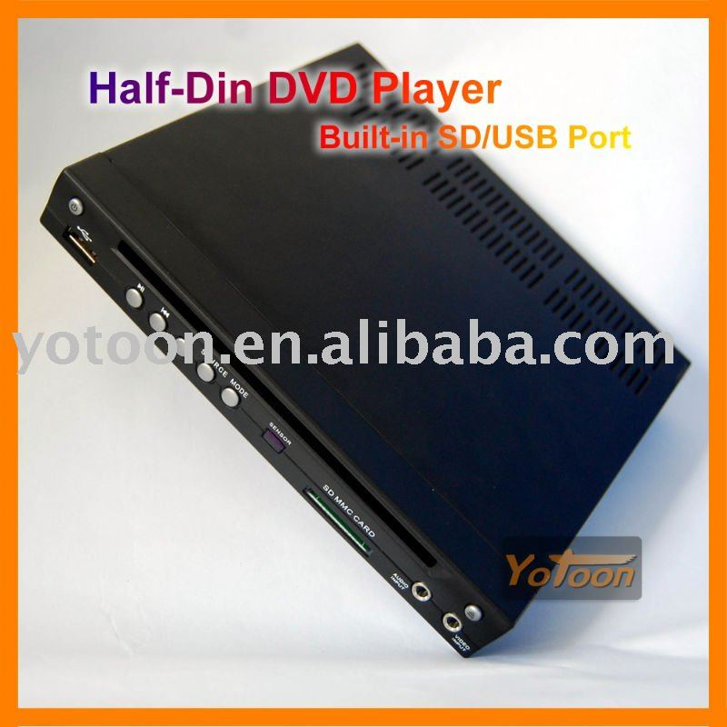 Metade Din Car DVD Player, 1/2 Din car DVD player, Construído Em SD/Porta USB Car DVD Player, suporte a DIVX/AVI/DVD/VCD/MP3/CD