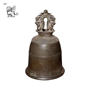 customized size temple use decoration chinese style temple bronze bell with finely cast guardian lions BRTM-06