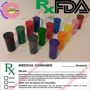 Rx Colorful Childproof Vials Jar Medical Weed Storage Containers