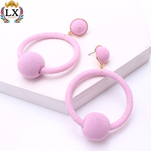 ELX-00871 latest 2018 regular thread earrings hoop ball stud earrings multi color Spring style earrings