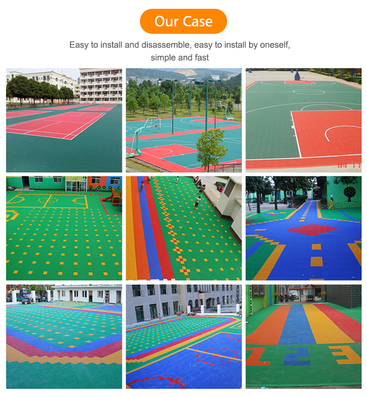 Kleurrijke PP interlock vloeren voor rolschaatsen